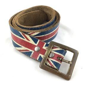 Other - Union Jack leather belt square buckle British Flag